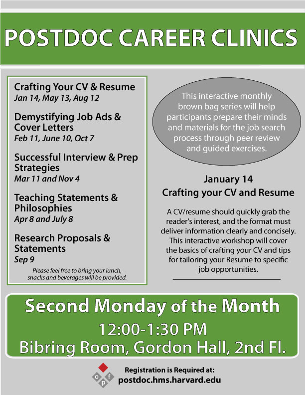 Career Clinic Crafting Your CV Resume HMS HSDM Office For